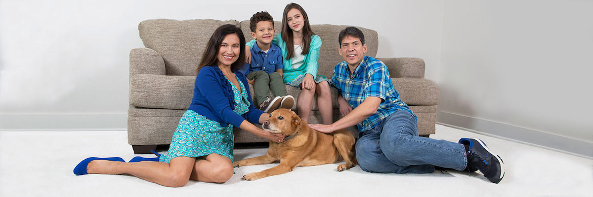 Chem-Dry provides carpet cleaning tips to family and dog on carpet