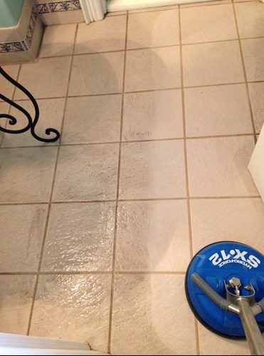 tile and grout cleaning machine from NW Arkansas showing before and after results in Fayetteville AR